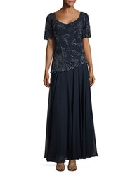 J Kara Plus V Neck Embellished Overlay Gown Navy Luste