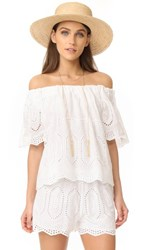 Liv Ellis Off The Shoulder Eyelet Top White