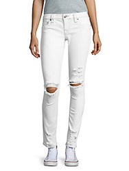 True Religion Skinny Fit Distressed White Denim Jeans