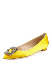 Manolo Blahnik Hangisi Crystal Buckle Satin Flat Yellow