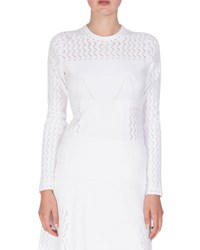 Kenzo Long Sleeve Scalloped Knit Sweater White