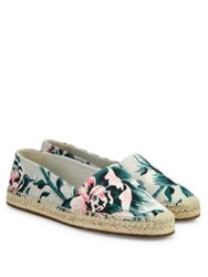 Burberry Hodgeson Floral Espadrille Flats Pale Green Apple