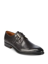 Saks Fifth Avenue Single Monk Strap Leather Derbys Grey