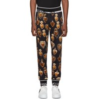 Dolce And Gabbana Black Gold Heart Crest Lounge Pants