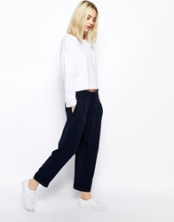 Weekday Wide Cropped Trousers Navy