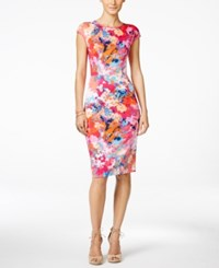 Inc International Concepts Printed Scuba Bodycon Dress Only At Macy's Blurred Flower