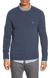 Men's Original Penguin Heritage Slim Fit Lambswool Crewneck Sweater Dark Sapphire