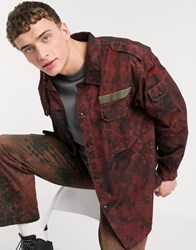 Milk It Vintage Camo Army Jacket In Red