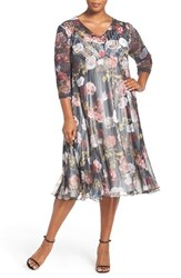 Komarov Plus Size Women's Print Three Quarter Sleeve Chiffon A Line Dress