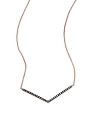 Diane Kordas Black Diamond And 18K Rose Gold Chevron Necklace