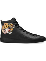 Gucci Leather High Top Sneaker With Tiger Men Leather Rubber 5.5 Black