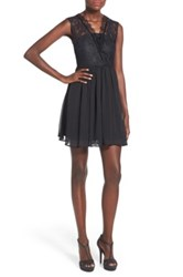 Fire Lace Surplice Skater Dress Black