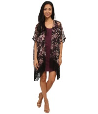 Lamade Boho Fringe Open Wrap Floral Women's Sweater Multi