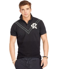 Polo Ralph Lauren Custom Fit Chevron Mesh Rugby Shirt Polo Black