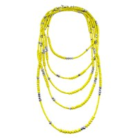 Dripping In Gems Yellow Iridescent Rondelle Strand Necklace Silver