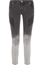 Balmain Pierre Ombre Moto Style Low Rise Skinny Jeans Charcoal
