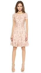 Marchesa Voyage Jacquard Fit And Flare Dress Blush Rose Gold