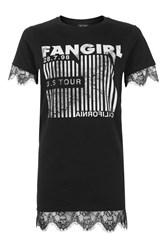 Topshop Fan Girl Lace Tunic T Shirt Black
