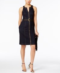 Inc International Concepts Belted Denim Sheath Dress Only At Macy's Ink Wash