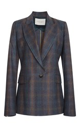 Carolina Herrera Notch Collar Checkered Blazer Grey