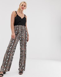 Qed London Snake Print Pleated Trousers Brown