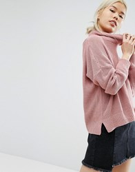 Daisy Street Oversized Cowl Neck Jumper Rose Pink