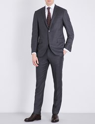 Corneliani Birds Eye Print Slim Fit Wool Suit Charcoal