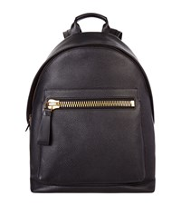 Tom Ford Buckley Grain Leather Backpack Unisex Black