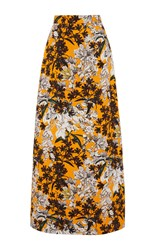 Msgm Orange Floral Long Skirt