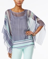 Styleandco. Style And Co. Handkerchief Hem Elbow Sleeve Poncho Only At Macy's Blue In Time