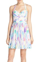 Women's Amanda Uprichard 'Karlie' Print Silk Fit And Flare Dress
