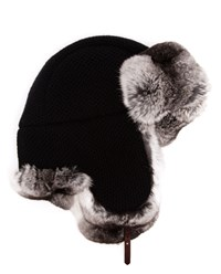 Inverni Chinchilla Fur Lined Trapper Hat Black Grey Silver