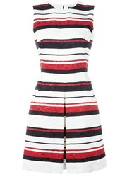 Dolce And Gabbana Striped Brocade Dress White