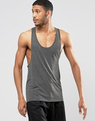 Asos Linen Mix Muscle Vest With Extreme Racer Back Khaki Green