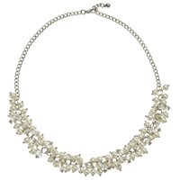John Lewis Short Faux Pearl And Crystal Collar Necklace Silver White