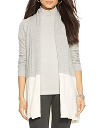 Lauren Ralph Lauren Color Block Cashmere Cardigan Bloomingdale's Exclusive Modern Cream Grey Heather