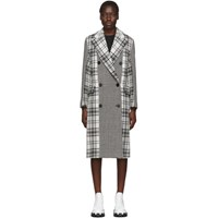 Msgm Black And White Plaid Double Breasted Coat