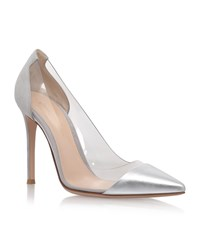 Gianvito Rossi Calabria Suede And Leather Pointed Courts Female Silver