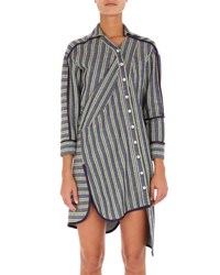Atlein Asymmetric Twisted Stripe Shirtdress Blue