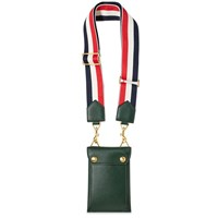 Thom Browne Leather Phone Holder Bag With Grosgrain Strap Green