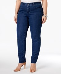 Charter Club Plus Size Bristol Dot Print Tummy Control Ankle Jeans Only At Macy's Medium Blue Combo