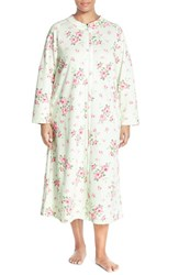 Plus Size Women's Carole Hochman Designs Zip Front Quilted Robe Cascading Floral Celadon