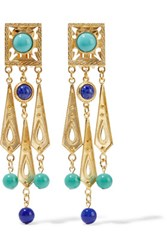 Ben Amun Gold Plated Bead And Stone Clip Earrings Royal Blue