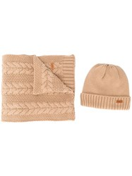 Barbour Knitted Hat And Scarf Set Brown