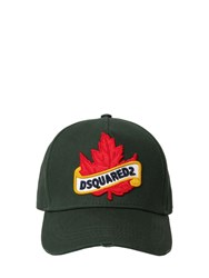 Dsquared Maple Leaf Cotton Canvas Baseball Hat Green