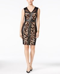 Thalia Sodi Faux Leather Front Zip Sheath Dress Only At Macy's Leopard
