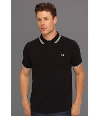 Slim Fit Twin Tipped Fred Perry Polo Black Porcelain Men's Short Sleeve Knit