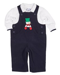 Florence Eiseman Snowman Overalls W Long Sleeve Polo Size 3 18 Months Royal