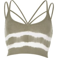 River Island Khaki Tie Dye Strappy Crop Top
