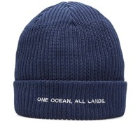 Nanamica Text Beanie Blue